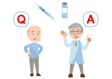 Illustration of vaccination Q & A 向量圖像