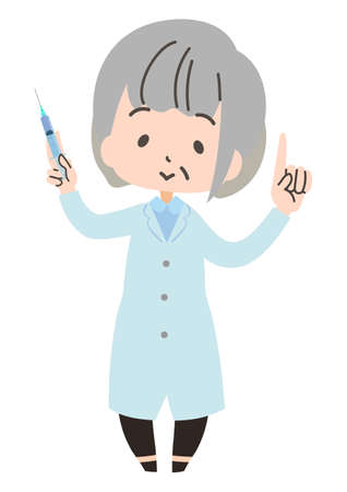 Illustration of a doctor with a syringe 向量圖像