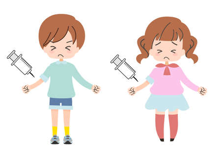 Set of illustrations of children who endure and receive injections