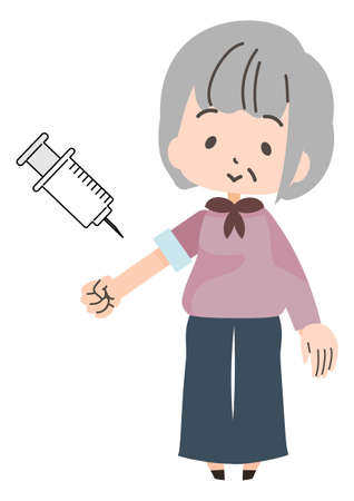 Illustration of an elderly person receiving an injection