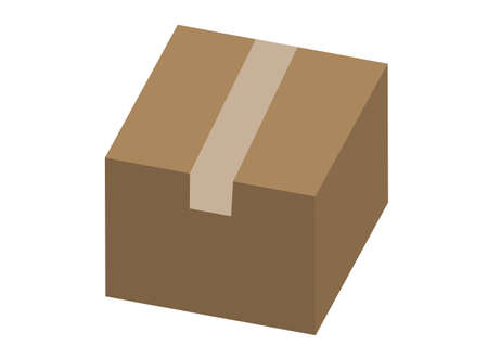Simple cardboard box illustration with seal