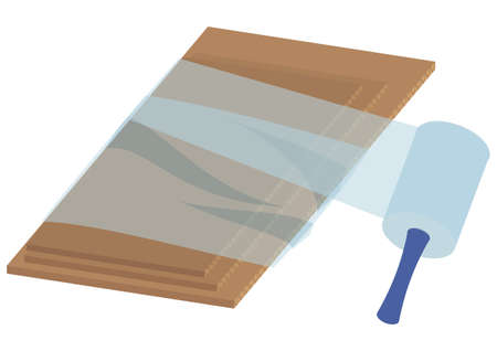 Illustration of using packing film 向量圖像