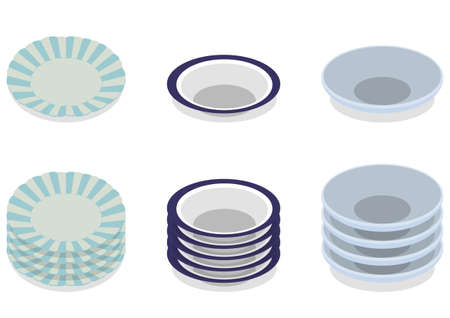 Illustration set of stacked tableware
