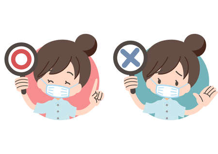 OK and NO sign illustration set for medical personnel 向量圖像