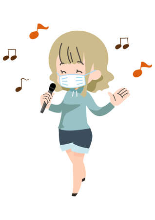 Illustration of a person wearing a mask and enjoying karaoke
