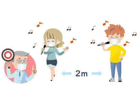 Illustrations of people who take measures against infection and enjoy karaoke 向量圖像