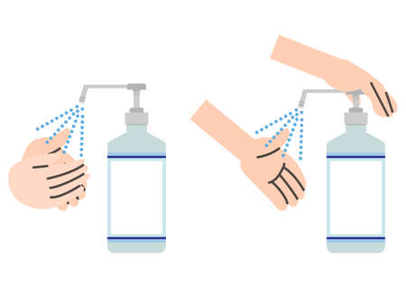 Simple alcohol disinfection illustration set