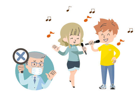 Illustrations of people approaching and enjoying karaoke