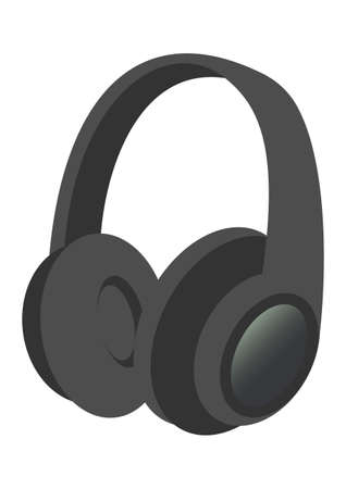 Illustration of black and simple headphones