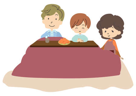 Illustration of a family relaxing with a kotatsu
