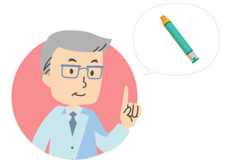 Illustration icon of doctor and epinephrine injection