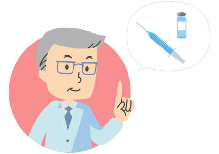 Illustration icon of doctor and vaccination