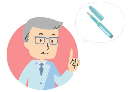 Illustration icon of doctor and insulin injection 向量圖像