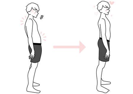 Male illustration set with distorted and straight posture Vektorgrafik