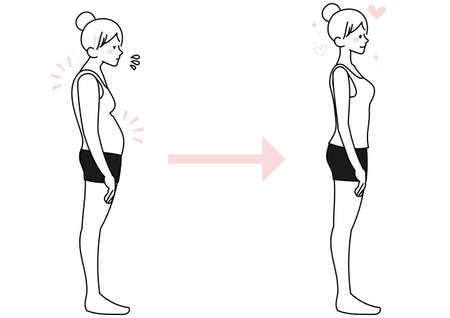 Female illustration set with stoop and straight posture