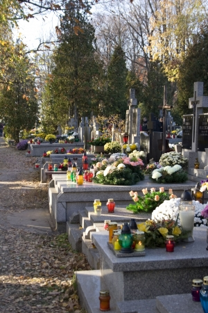 all saints  day: Decorated graves in All Saints Day, Poland