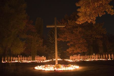 all saints  day: Polish war cementary in All Saints Day