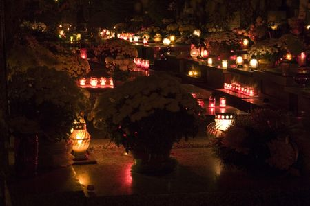 all saints  day: Cementary at night in All Saints Day in Poland
