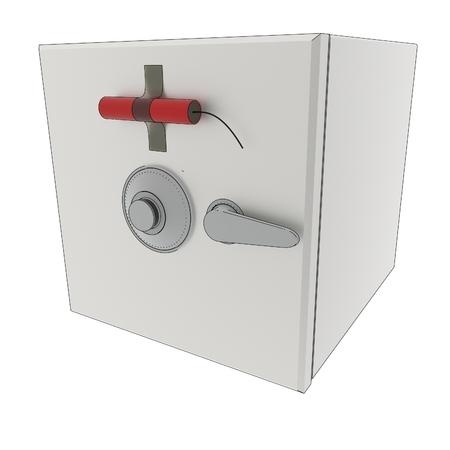 dinamita: una representación 3D de una caja fuerte con dinamita.