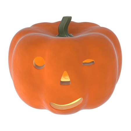 inebriated: a 3D rendering of an orange pumpkin with a drunk look. Stock Photo