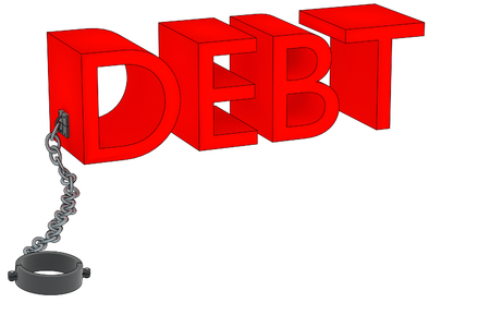 cuff: A 3D rendering of the word debt attached to a manacle.