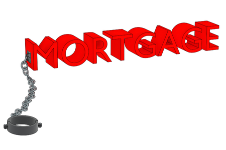 a 3D rendering of the word mortgage attached to a manacle. Banco de Imagens