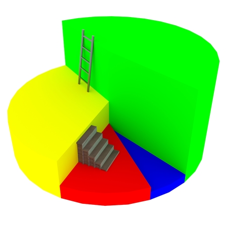 blocky: A 3D rendering of a blocky pie chart with varying levels, a set of stairs, and a ladder isolated on white.