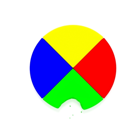 A 3D render of a pie chart one a reflective white background with a bite taken out of it. Imagens