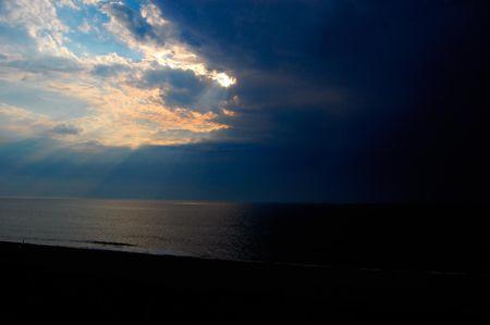 Rays of sun on ocean