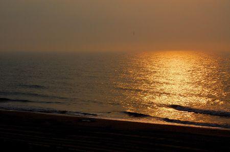 Rays of sun on ocean sunset