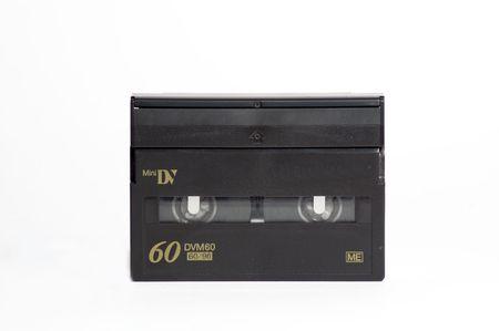 Mini-DV cassette on white background