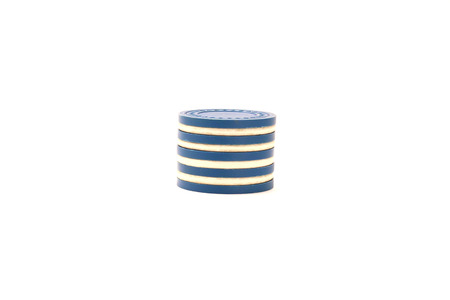 Casino Chips Stacked - Blue and White Alternating