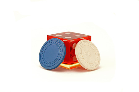 Casino Die with 2 Poker Chips