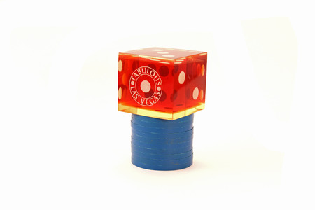 Blue Poker Chips with Die