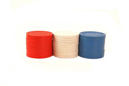 USA Colored Poker Chips Stacked in Row