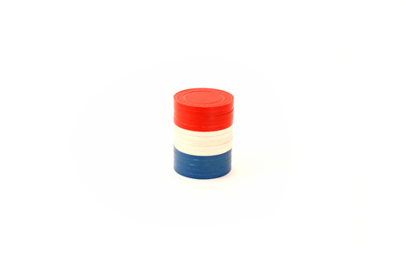 USA Colored Stacked Poker Chips Banco de Imagens