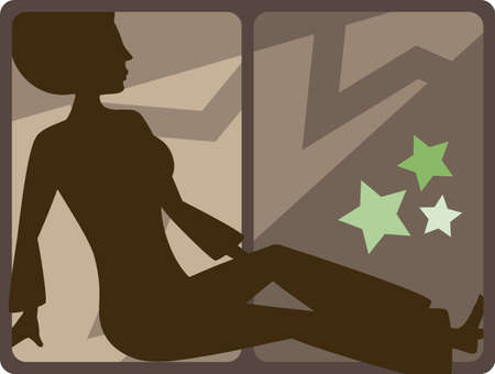 silhouette of a lady in flared clothing in a seventies disco setting Vector