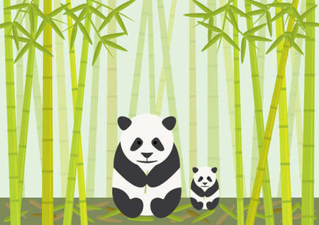 Pandas Eating Bamboo Vector