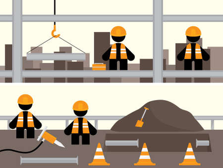 presslufthammer: Arbeiter Banner Illustrationen mit Bau Provinzmannschaften