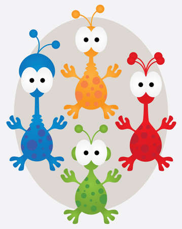 Collection of four aliens in different colors Ilustração