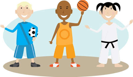 Group of children enjoying various sporting activities Vector