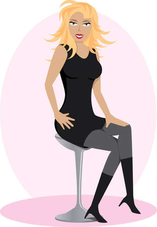 stool: Attractive blonde lady in a black dress and boots sitting on a bar stool Illustration