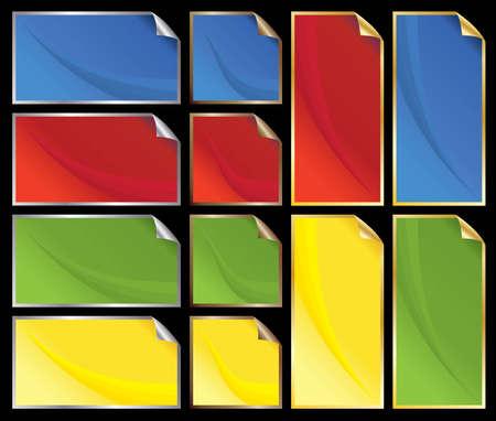 metalic: Aufkleber mit abstrakten Mustern mit metallisch Kanten und Ecken peeling Illustration