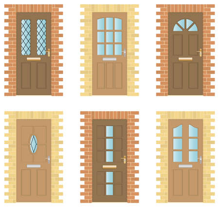 Set of six exterior wooden Doors with brick frames Stock Vector - 9430055