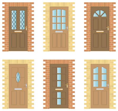 Set van zes exterieur houten deuren met baksteen frames