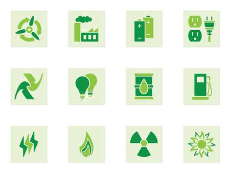radiacion solar: Conjunto de iconos verdes que representan diferentes formas de energ�a y el uso de la energ�a