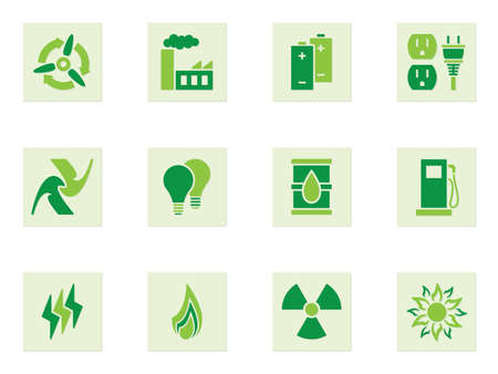 warning symbol: Set of green icons depicting different forms of energy and energy use