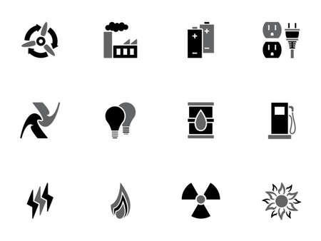 quelle: Illustration der verschiedenen Energiequellen Symbole auf wei�em Hintergrund