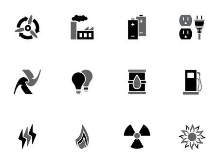 water pump: Illustration of different energy icons on white background