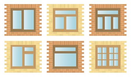 Set Außen Holzfenster Mit Ziegeln Rahmen, Architektonische Konstruktion  Detailliert, Illustration